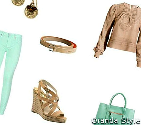 Skinny Jeans og Mint Green Bag Outfit kombination