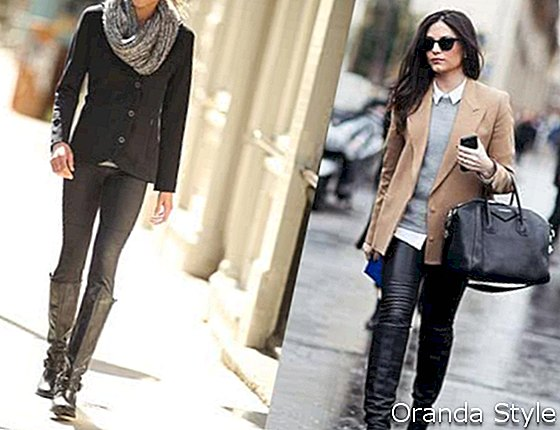 Blazer Leggings Stiefel Outfit