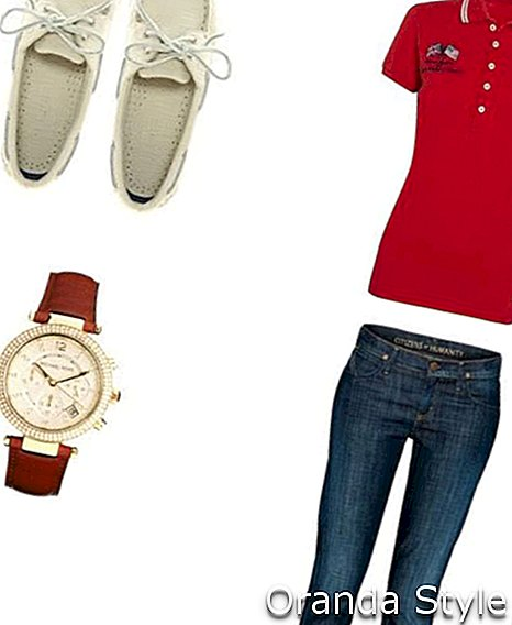 Kombinace Polo Outfit s botami Sperry Topsiders