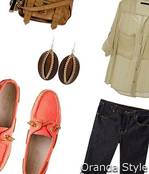Safari Outfit Kombination mit Sperry Topsiders Schuhen